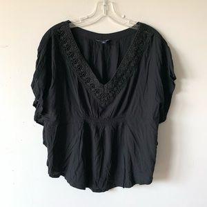 American Eagle Black Crochet Detail Poncho Blouse